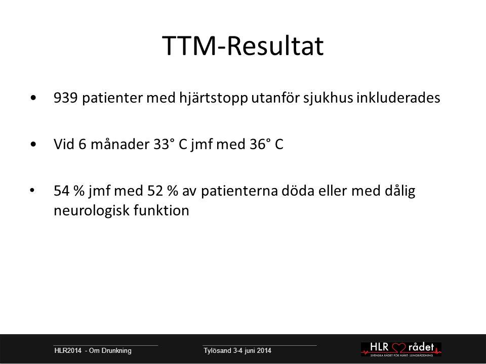 TTM-Resultat 939 patienter med hjärtstopp utanför sjukhus inkluderades