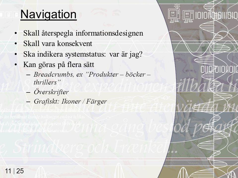 Navigation Skall återspegla informationsdesignen Skall vara konsekvent