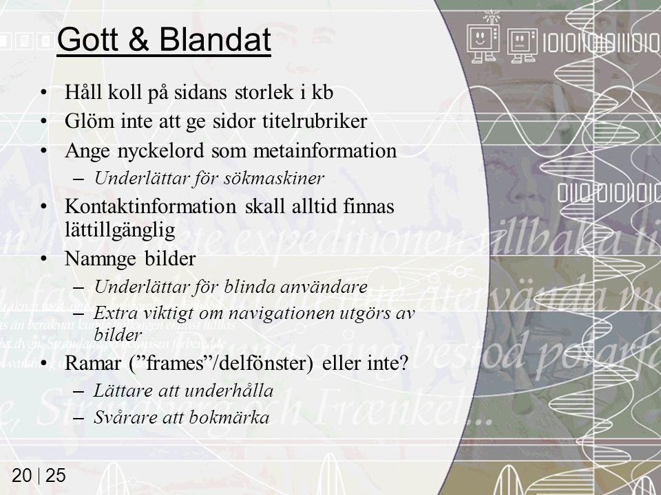 Gott & Blandat Håll koll på sidans storlek i kb