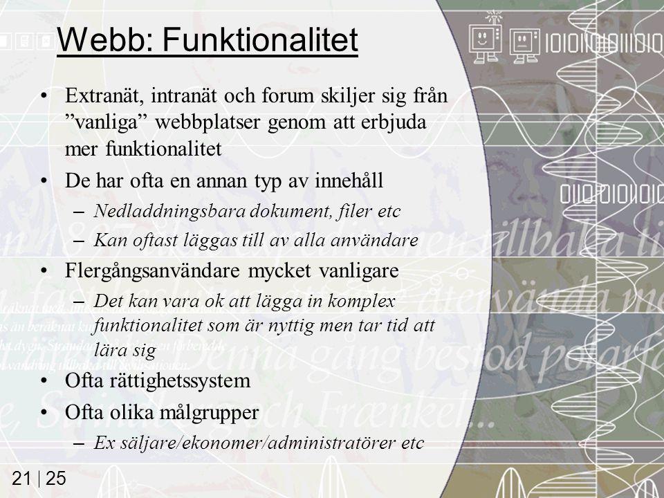 Webb: Funktionalitet Extranät, intranät och forum skiljer sig från vanliga webbplatser genom att erbjuda mer funktionalitet.