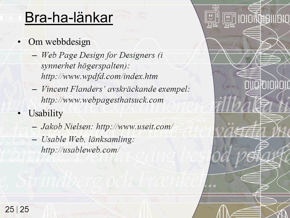 Bra-ha-länkar Om webbdesign Usability