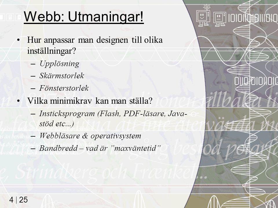 Webb: Utmaningar! Hur anpassar man designen till olika inställningar