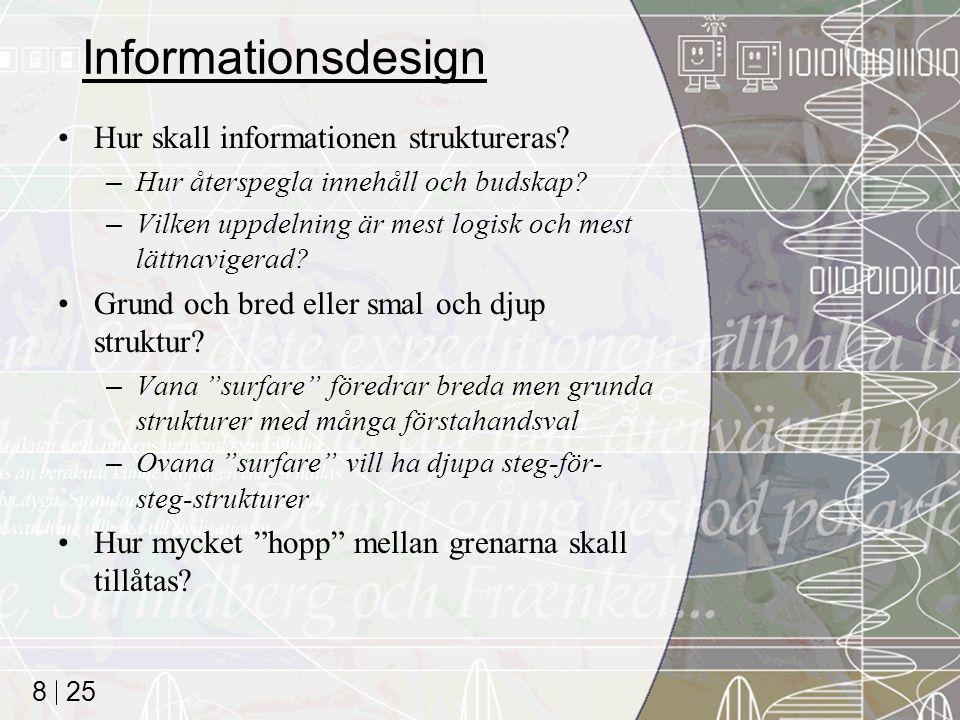 Informationsdesign Hur skall informationen struktureras