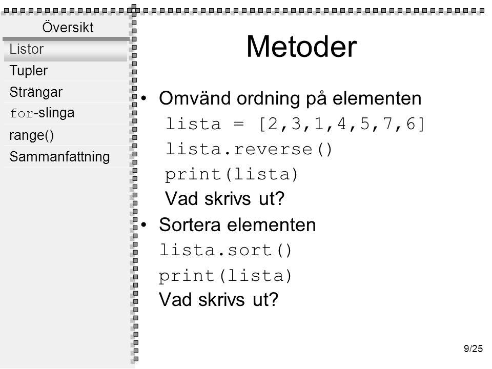 Metoder Lägg till element på slutet lista.append(13)