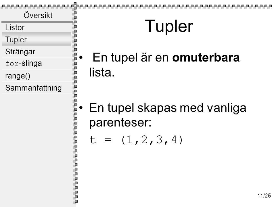 +,* och tupler Tupler kan konkateneras: t = (1,2,3) + (4,5,6) print(t)