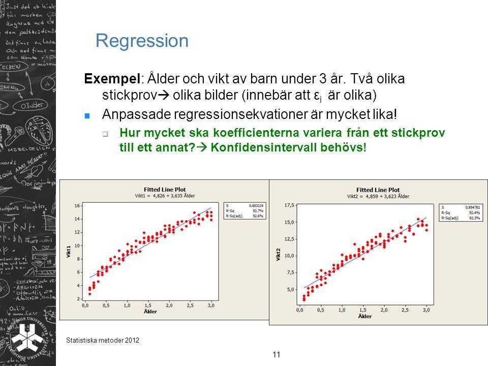 Regression Exempel: Ålder och vikt av barn under 3 år. Två olika stickprov olika bilder (innebär att εi är olika)