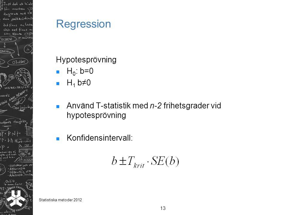 Regression Hypotesprövning H0: b=0 H1 b≠0