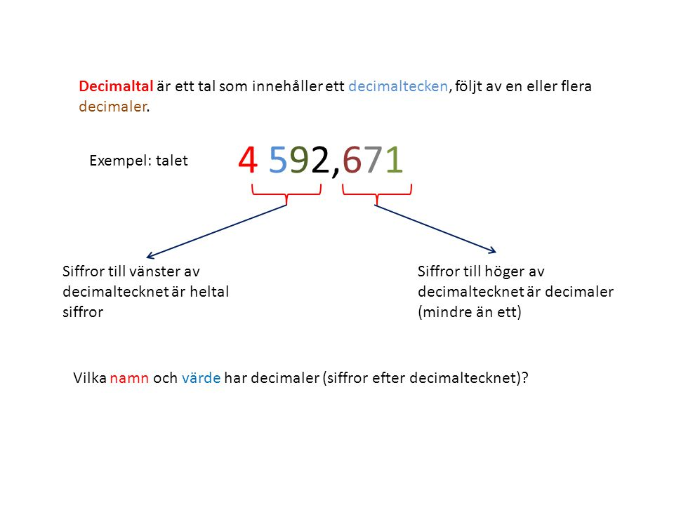 Decimaltal är ett tal som innehåller ett decimaltecken, följt av en eller flera decimaler.