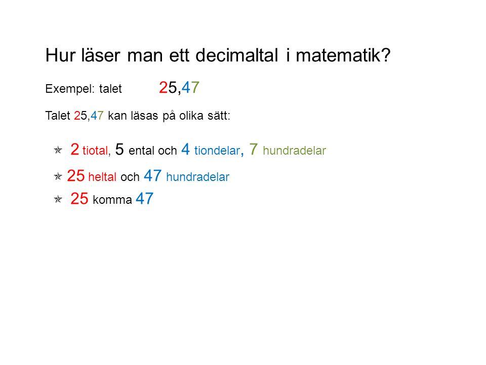 Hur läser man ett decimaltal i matematik