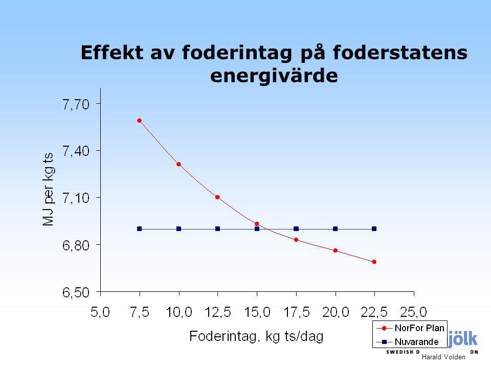 Effekt av foderintag på foderstatens energivärde