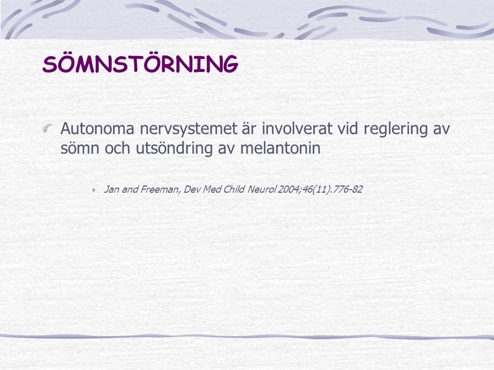 SÖMNSTÖRNING Autonoma nervsystemet är involverat vid reglering av sömn och utsöndring av melantonin.
