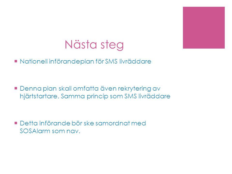 Nästa steg Nationell införandeplan för SMS livräddare