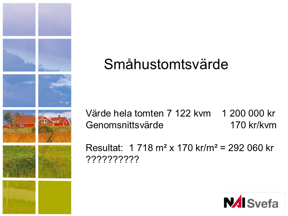 Småhustomtsvärde Värde hela tomten 7 122 kvm 1 200 000 kr Genomsnittsvärde 170 kr/kvm.