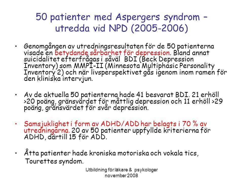 50 patienter med Aspergers syndrom – utredda vid NPD (2005-2006)