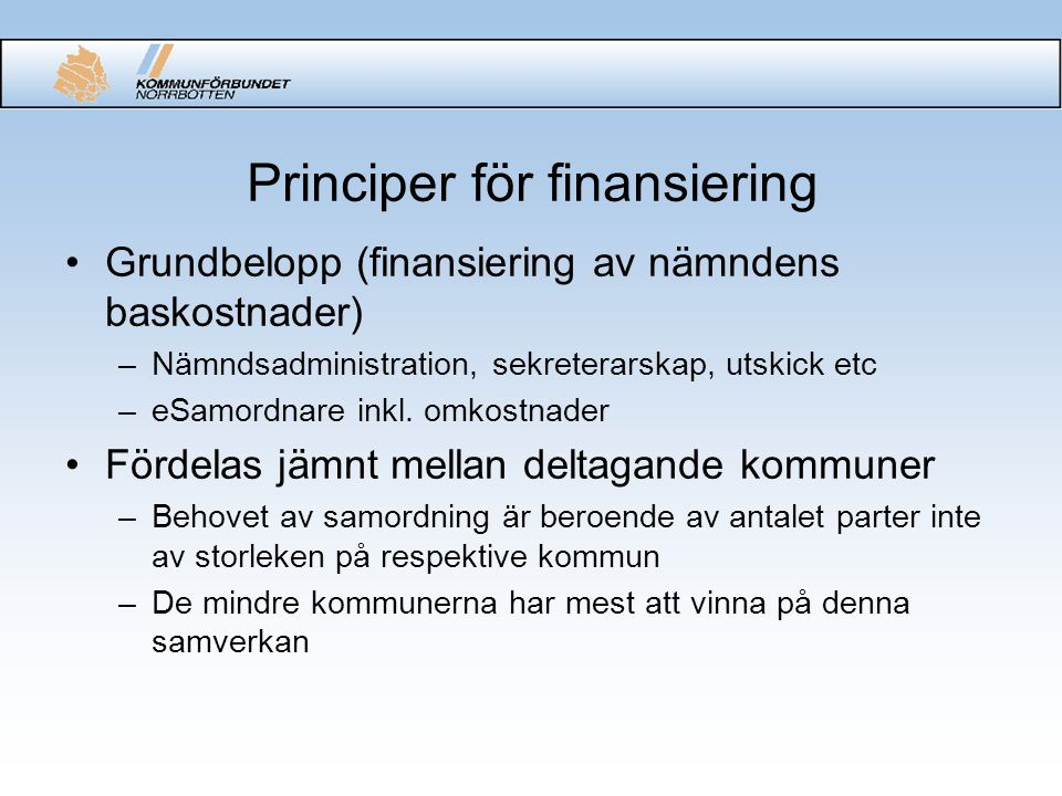 Principer för finansiering