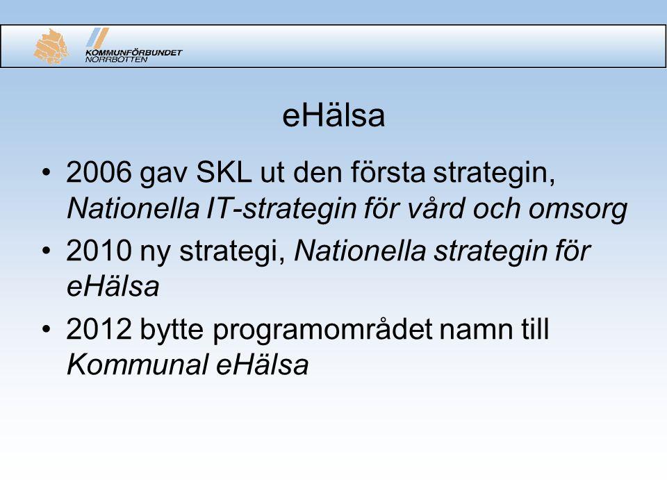 eHälsa 2006 gav SKL ut den första strategin, Nationella IT-strategin för vård och omsorg. 2010 ny strategi, Nationella strategin för eHälsa.