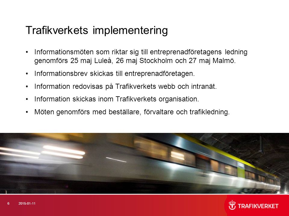 Trafikverkets implementering