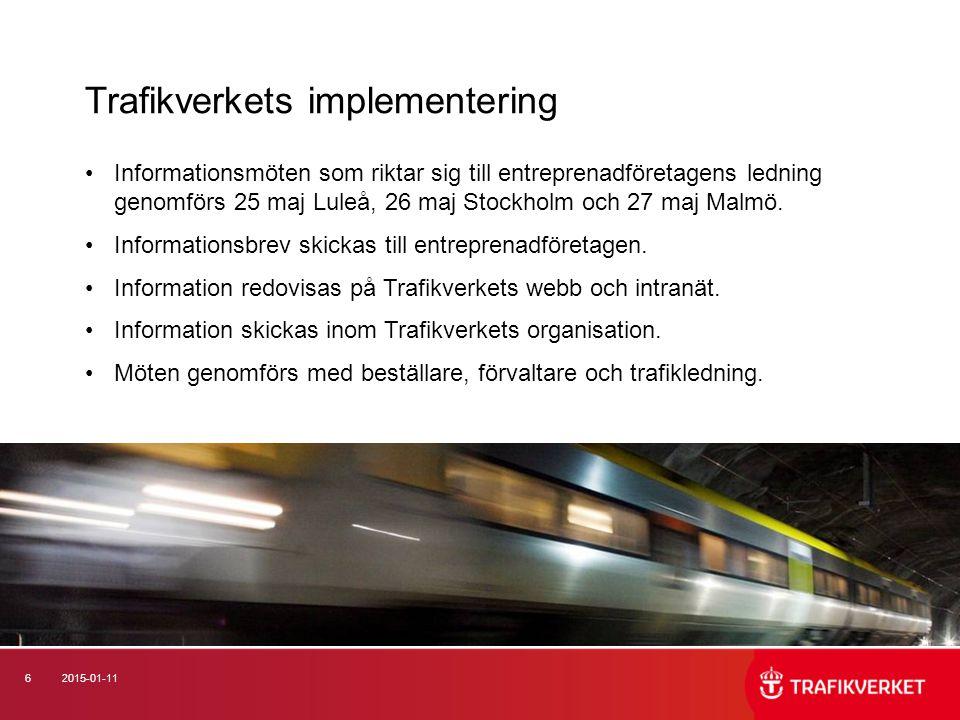 Trafikverkets implementering