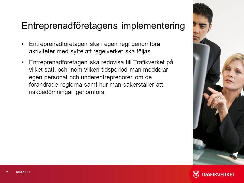 Entreprenadföretagens implementering
