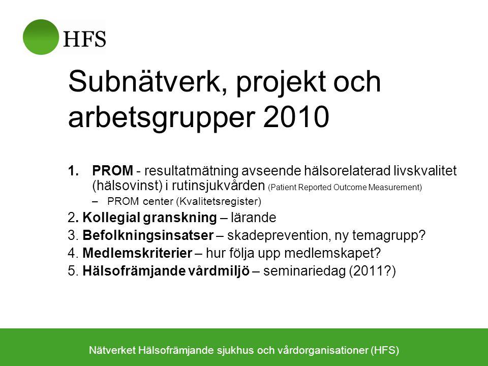 Subnätverk, projekt och arbetsgrupper 2010