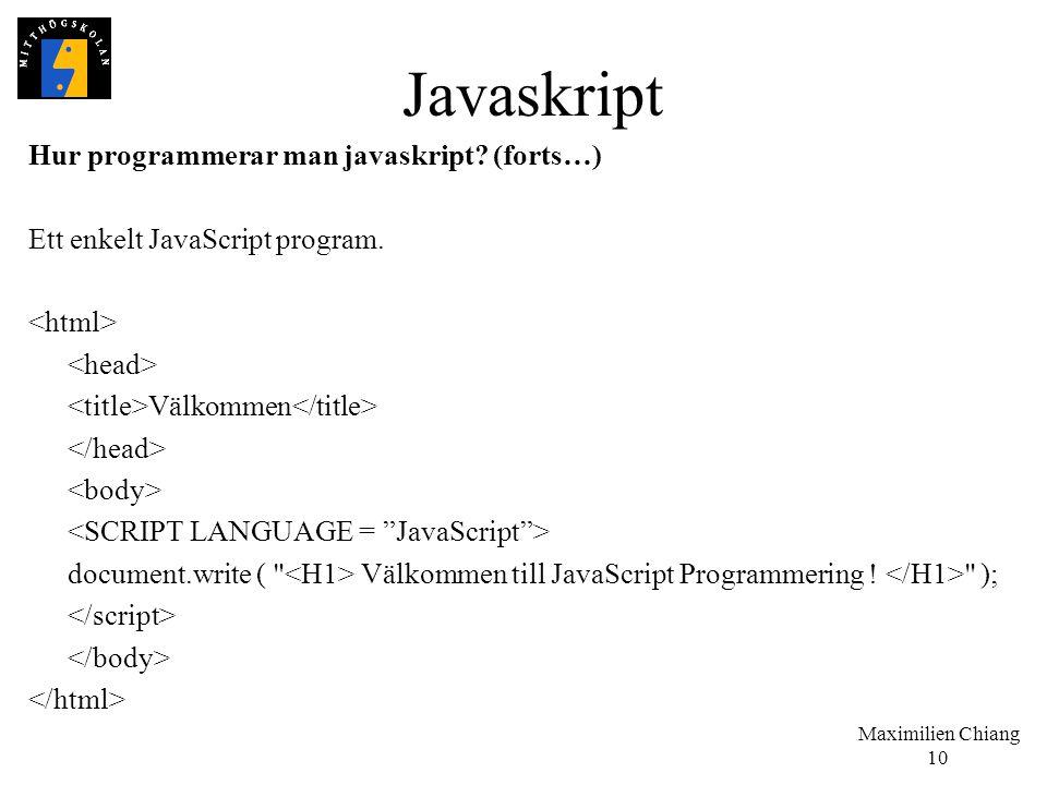 Javaskript Hur programmerar man javaskript (forts…)