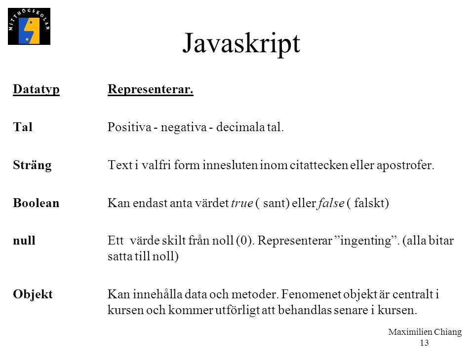 Javaskript Datatyp Representerar.