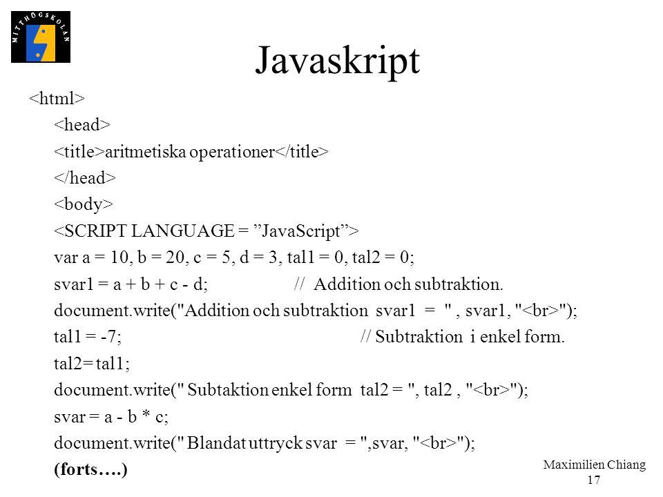 Javaskript <html> <head>