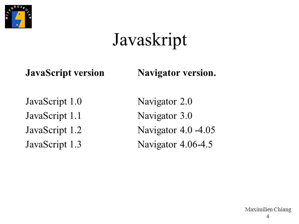 Javaskript JavaScript version Navigator version.