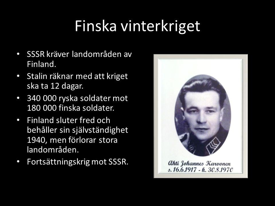 Finska vinterkriget SSSR kräver landområden av Finland.