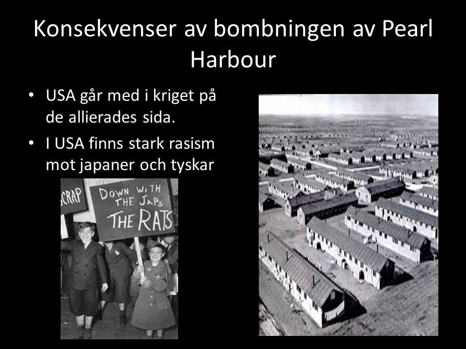 Konsekvenser av bombningen av Pearl Harbour