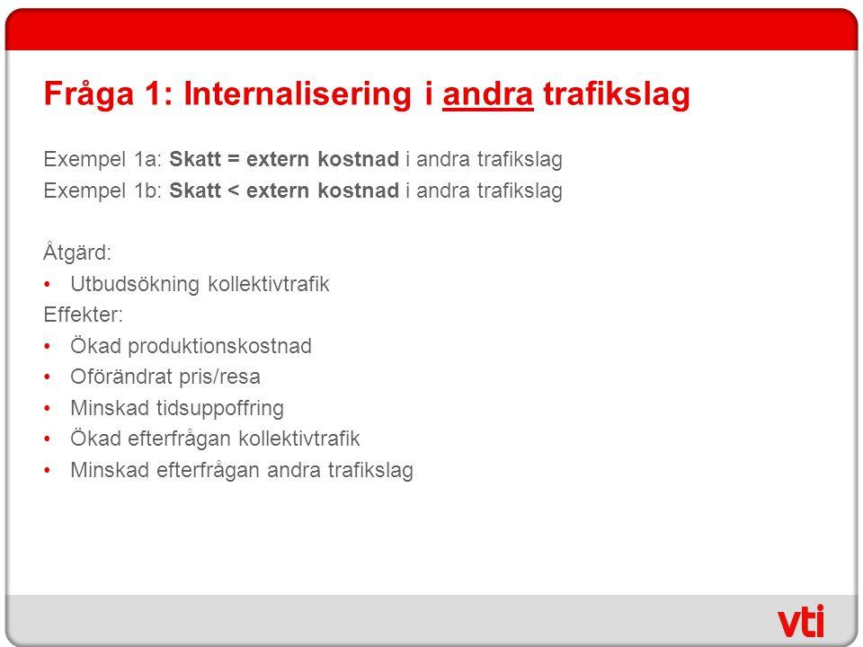 Fråga 1: Internalisering i andra trafikslag