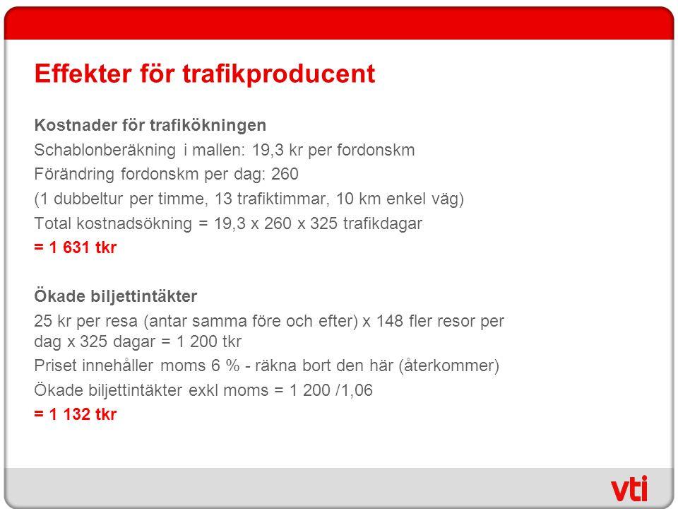 Effekter för trafikproducent