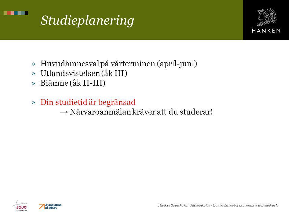 Studieplanering Huvudämnesval på vårterminen (april-juni)