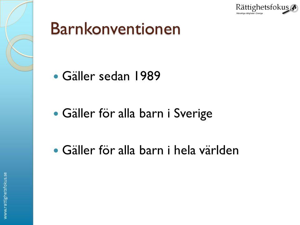 Barnkonventionen Gäller sedan 1989 Gäller för alla barn i Sverige