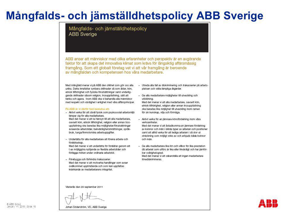 Mångfalds- och jämställdhetspolicy ABB Sverige
