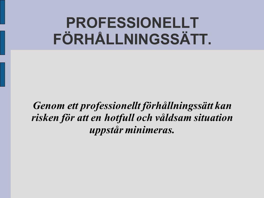PROFESSIONELLT FÖRHÅLLNINGSSÄTT.