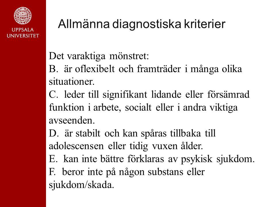 Allmänna diagnostiska kriterier