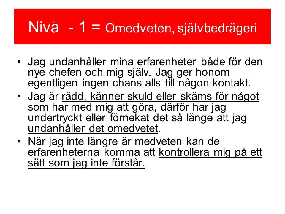 Nivå - 1 = Omedveten, självbedrägeri