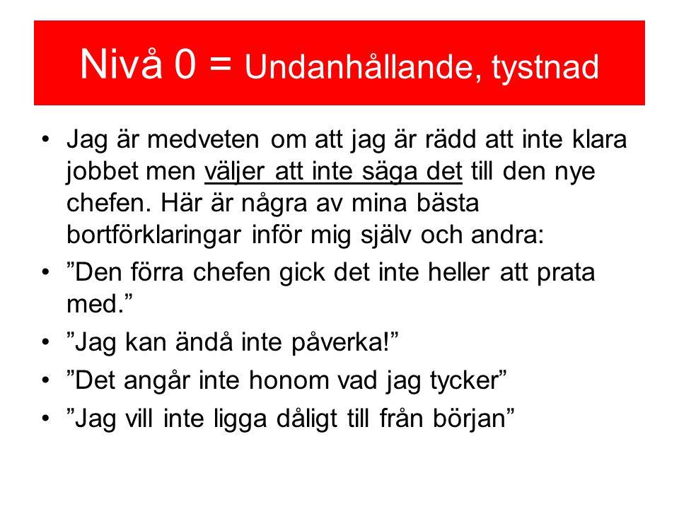 Nivå 0 = Undanhållande, tystnad