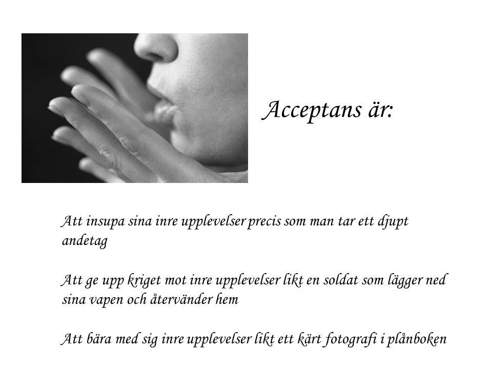 Acceptans är: Att insupa sina inre upplevelser precis som man tar ett djupt andetag.