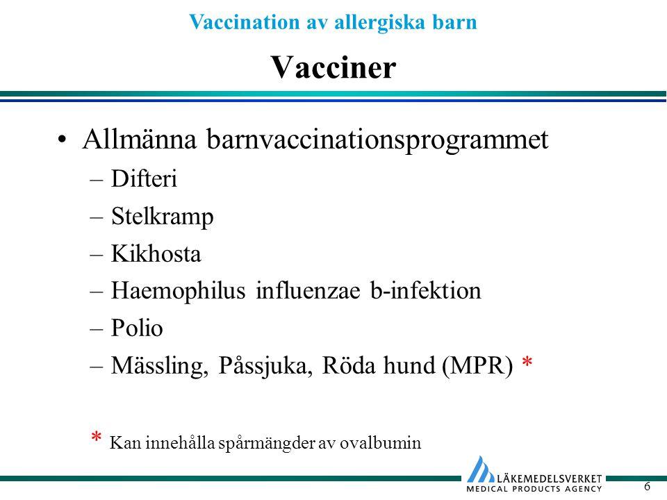 Vacciner Allmänna barnvaccinationsprogrammet Difteri Stelkramp