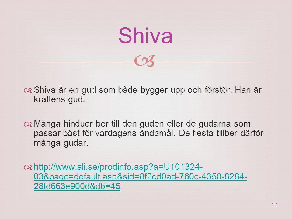 Shiva  Shiva är en gud som både bygger upp och förstör. Han är kraftens gud.