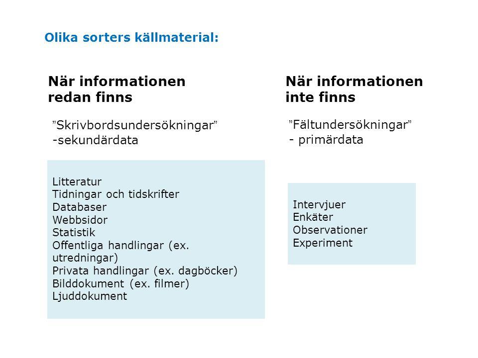 När informationen redan finns När informationen inte finns
