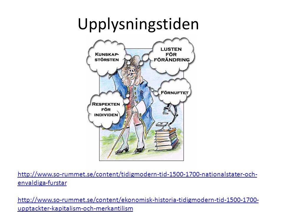 Upplysningstiden http://www.so-rummet.se/content/tidigmodern-tid-1500-1700-nationalstater-och-envaldiga-furstar.