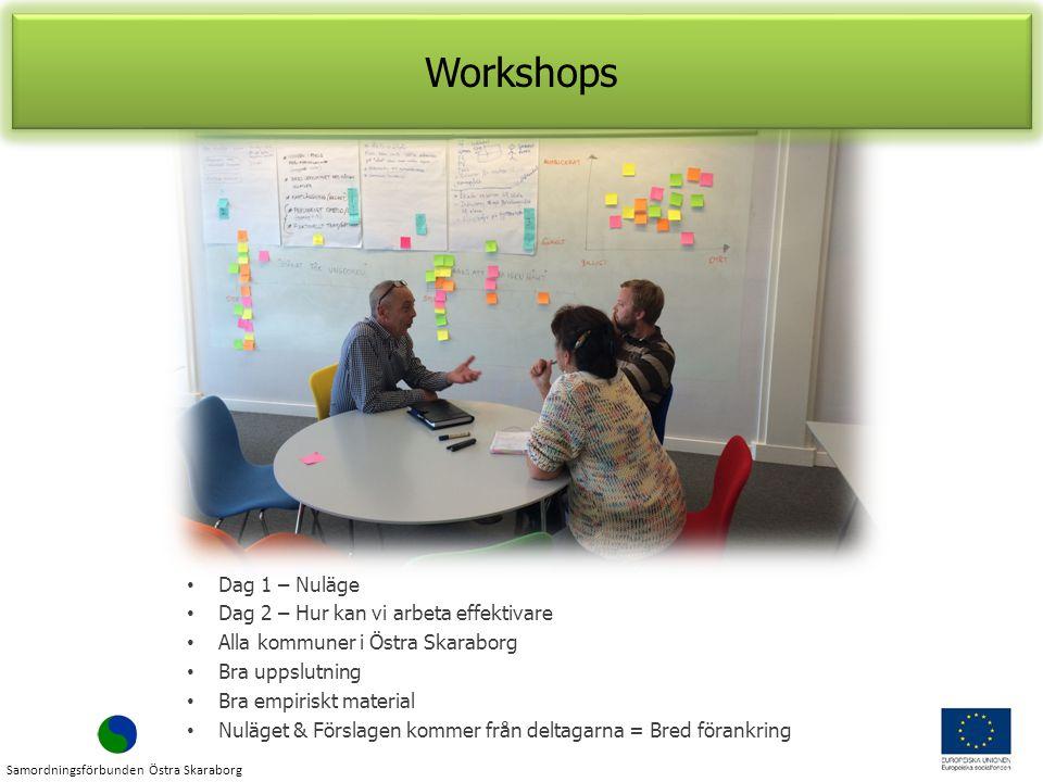 Workshops Dag 1 – Nuläge Dag 2 – Hur kan vi arbeta effektivare