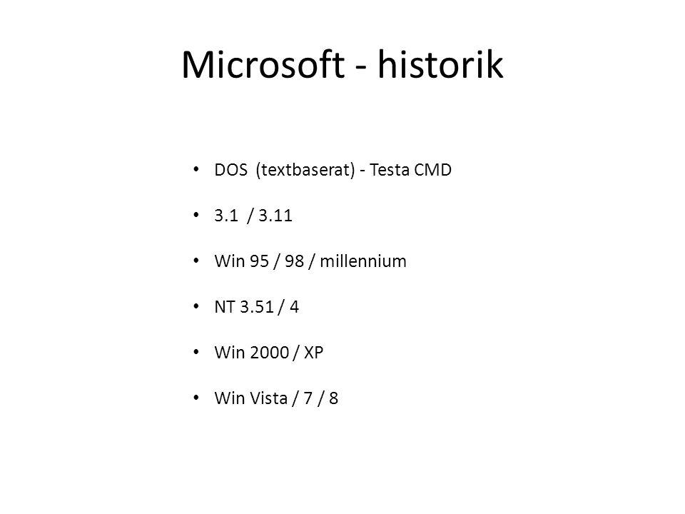 Microsoft - historik DOS (textbaserat) - Testa CMD 3.1 / 3.11