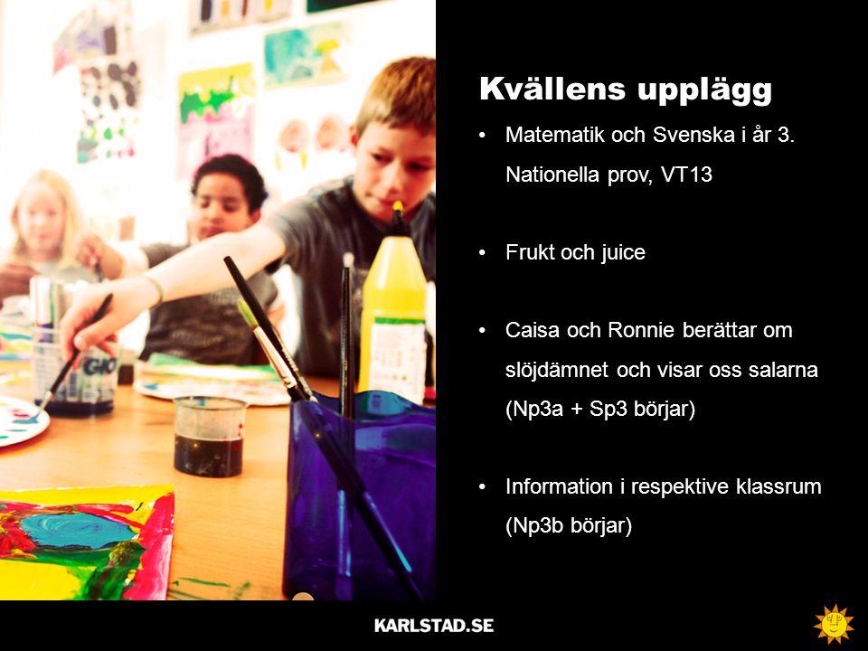 Kvällens upplägg Matematik och Svenska i år 3. Nationella prov, VT13