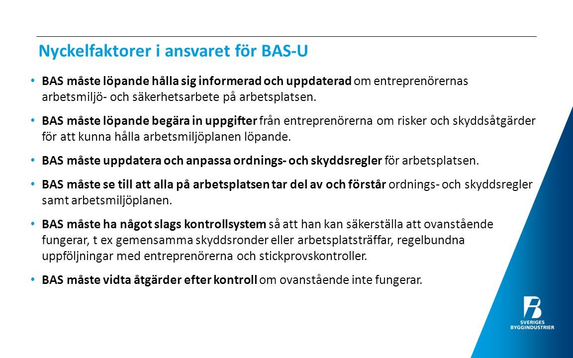 Nyckelfaktorer i ansvaret för BAS-U