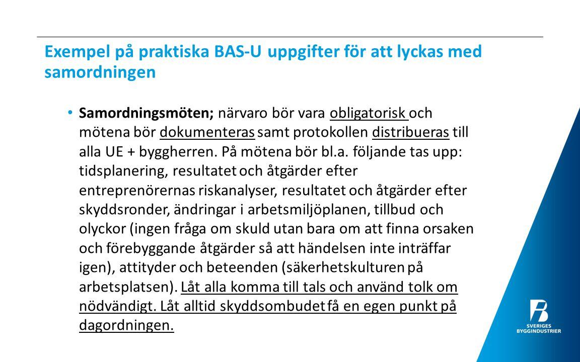 Exempel på praktiska BAS-U uppgifter för att lyckas med samordningen