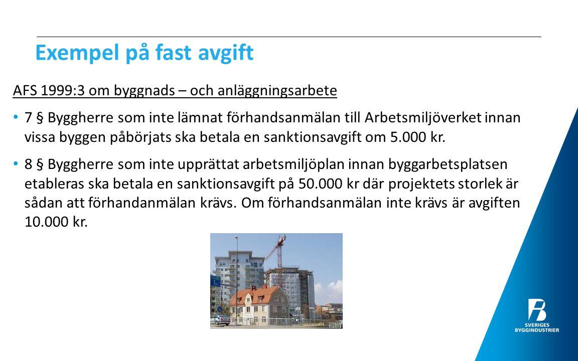 Exempel på fast avgift AFS 1999:3 om byggnads – och anläggningsarbete